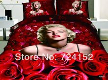 Promotions Wedding Black Pink Brand red Rose 100%Cotton Bedding set girl's Bed sheets King/Queen Quilt Comforter Duvet covers(China (Mainland))