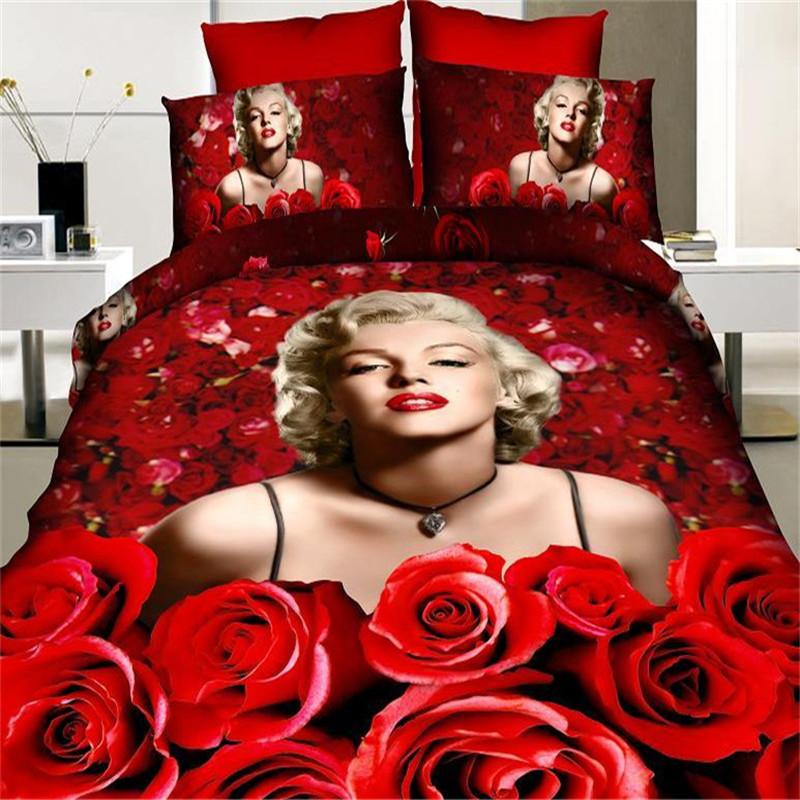 3D Sexy Marilyn Monroe Bedding set 100% cotton red rose duvet cover set bed sheet queen size comforter set/bedlinen bedclothes(China (Mainland))