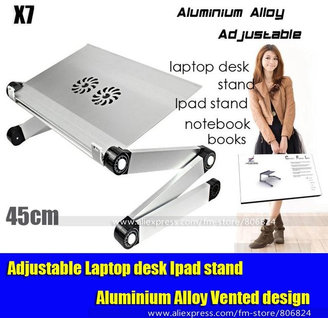 Adjustable Cooler Fan Notebook Laptop Table Bed Table Portable Bed Tray Book Stand, X7 Silver