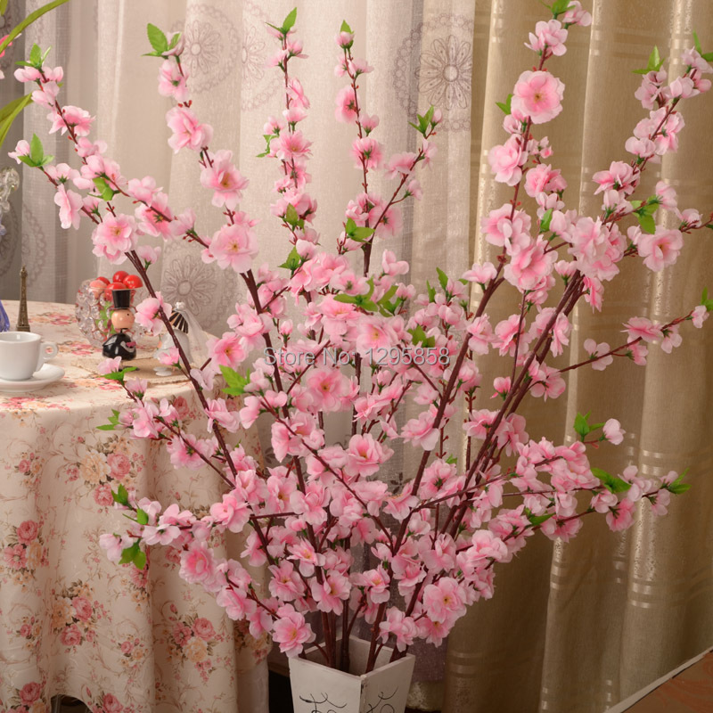 4color peach blossom artificial flowers home decorative for Artificial flower for wedding decoration
