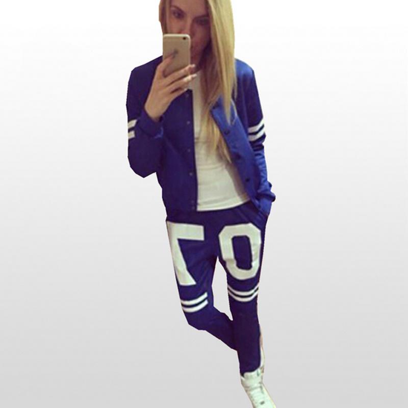 2016 New Women Sport Suit Set Zip up Print 07 Women Tracksuits Sport Suits 2 Piece Long Sleeve Casual Set Blue Sportwear Set(China (Mainland))