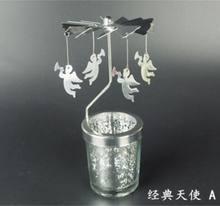 פיל פמוט מסתובב רומנטי ספין קרוסלת פמוט ארוחת ערב לאור נרות מסיבת חג המולד דקור Snowflake איל(China)