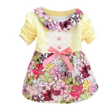 New Lovely 0-2Y Baby Kids Girls Bow Floral One Piece Dress Princess Autumn Dress