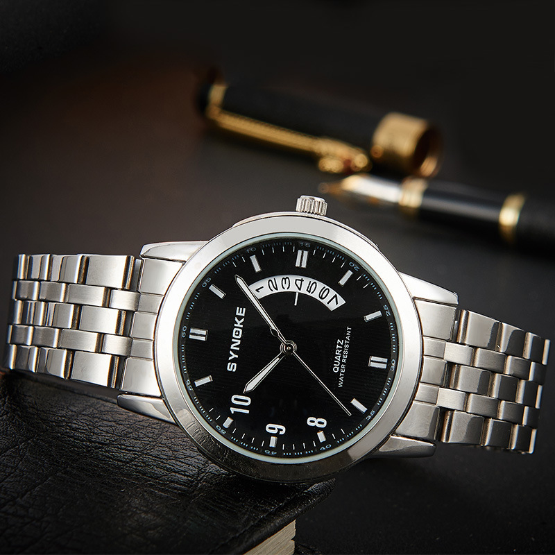 Moment promise genuine couple watches steel business calendar male form female quartz watch precision waterproo - Variable Star store