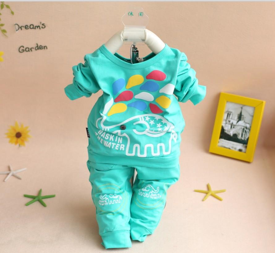 1pc retail 2015 Spring Autumn Baby cartoon cloth set infant long sleeve cloth suit Top Tee + pants garment supplier(China (Mainland))