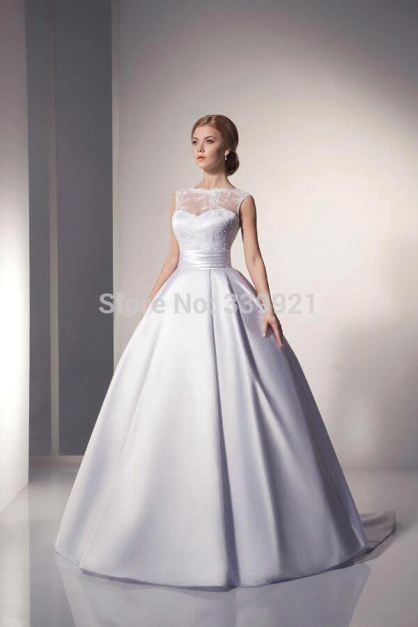 2016 new elegant bridal gowns scoop ivory white satin for Elegant satin wedding dresses