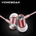 High Qyality Aluminum Magnet Headphones with Microphone In Ear Earphone Super Bass Fashion Rose Gold Silver
