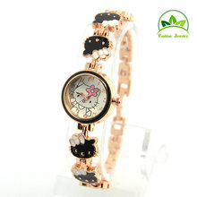 Hello Kitty Children Girl Wholesale Rose Gold women wristwatches ladies fashion quartz watch Women  watches ,KT53