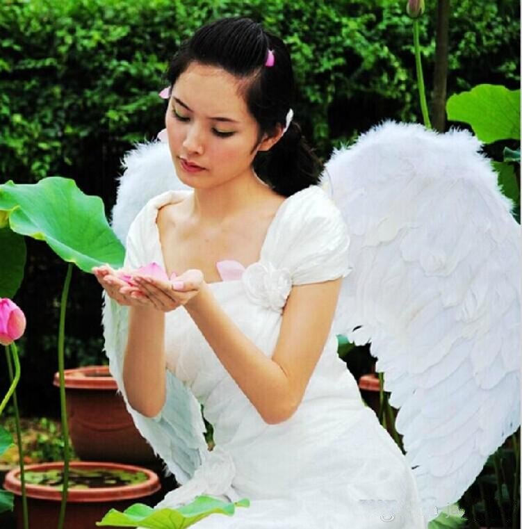 New White Angel Feather Wings For Halloween Princess Party Decoration Accessories Children and Adults Performing Props 82cm*54cm(China (Mainland))