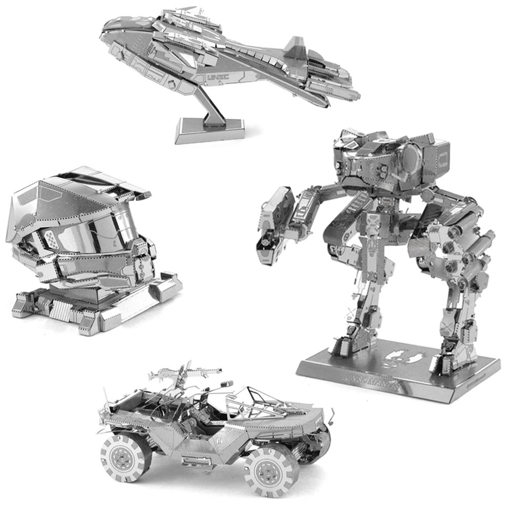 Metal 3D Puzzle Master Chief's Helmet Mantis Pelican Dropship WartHog DIY Assembly Model Children Educational Jigsaw Toys(China (Mainland))