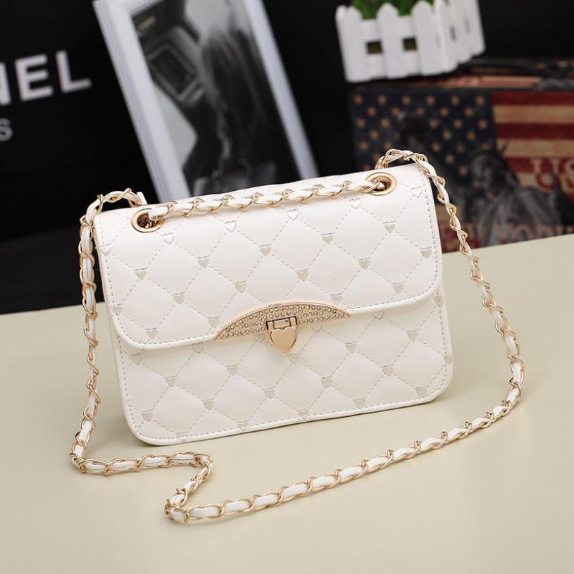 Brand new 2015 hot Womens Bag Chain Shoulder Bag Tote Fashion Leather Handbag Black Pink White (China (Mainland))