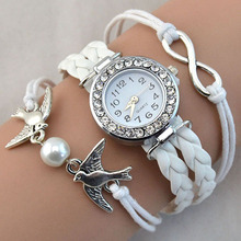 Spring s New Women Bird Love Heart Multilayer Knitted Faux Leather Bracelet Wrap Wrist Watch 9YH