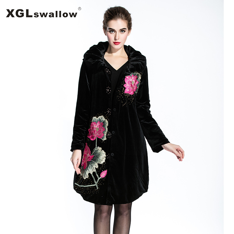Fashion Floral Slim Women Black Overcoat Button High Quality Flannel Elegant Style Long Sleeve Winter Warm Coat XGL04Одежда и ак�е��уары<br><br><br>Aliexpress