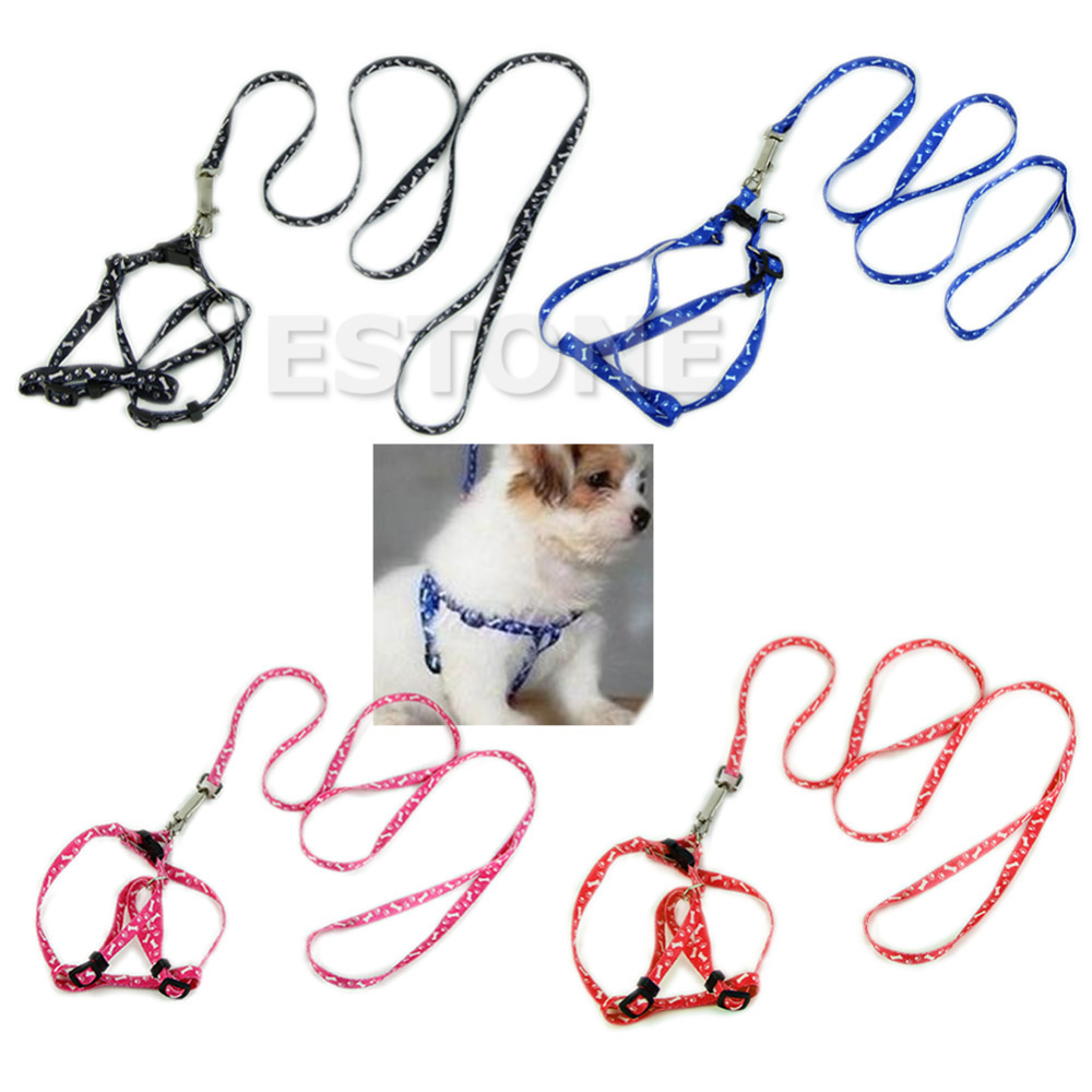U119 Free Shipping HOT Small Dog Pet Puppy Cat Adjustable Nylon Harness with Lead leash 5 Colors(China (Mainland))