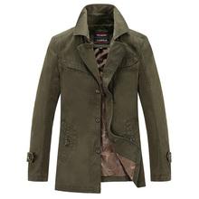 2016  Autumn Winter Mens Coats Outerwear Military Style Casual Jacket Designer Black  Khaki Army Green Men Trench Coat MW0060106(China (Mainland))