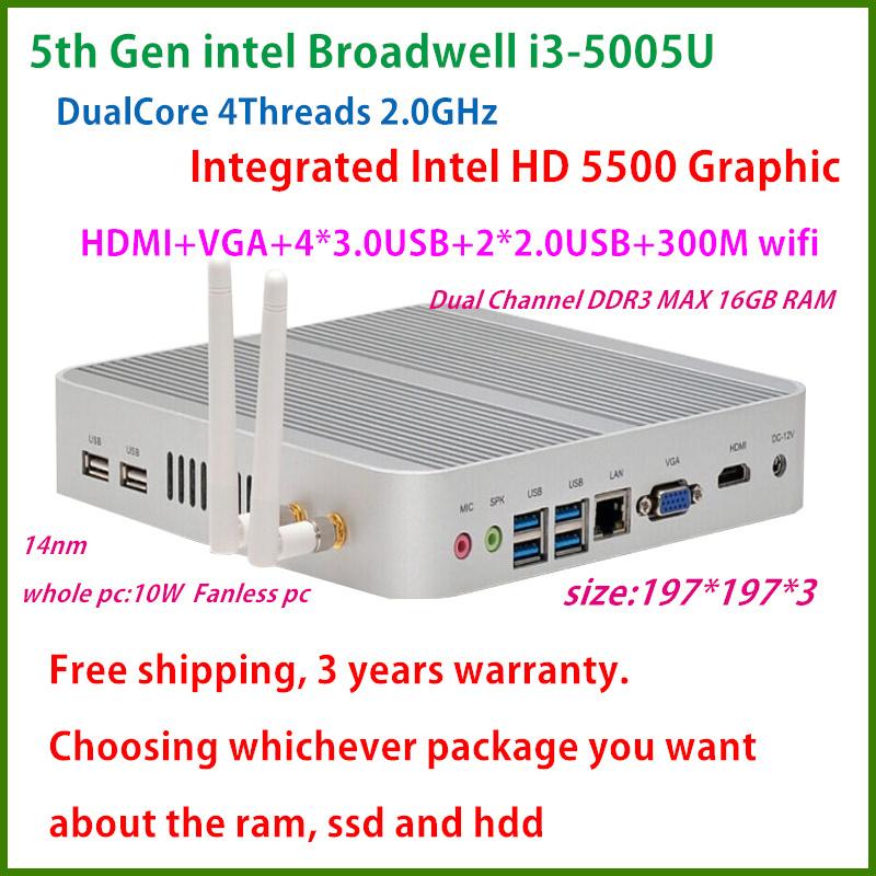 Free shipping 5th Gen Broadwell core i3 5005U mini pc intel HD 5500U,300M WIFI, Dual Gigabit Lan windows 8.1/window 7 Fanless pc(China (Mainland))