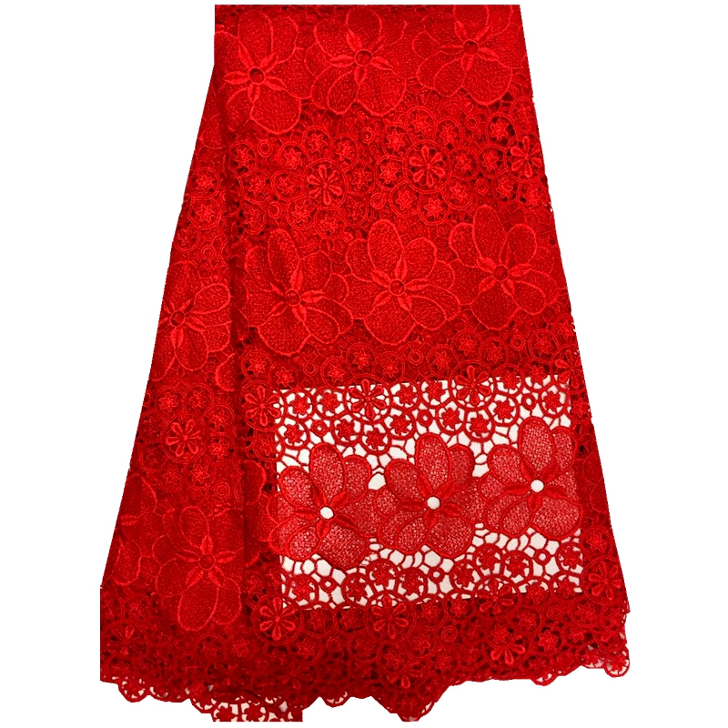 French Net Lace Fabric 2016 Latest african guipure lace fabric with embroidery mesh tulle fabricfor wedding party dress red(China (Mainland))