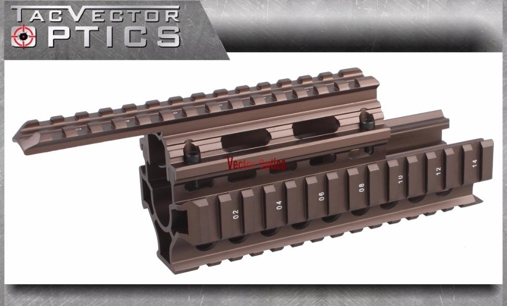 Vector Optics AK RIS Handguard Quad Rail System Mount fit AK 47 & 74 Burnt Bronze Color Laser Flashlight Sight Rifle Scopes