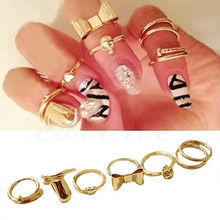 Free Shipping 7PCS/Set Charming Gold Skull Stack Plain Cute Above Knuckle Ring Band Midi Rings