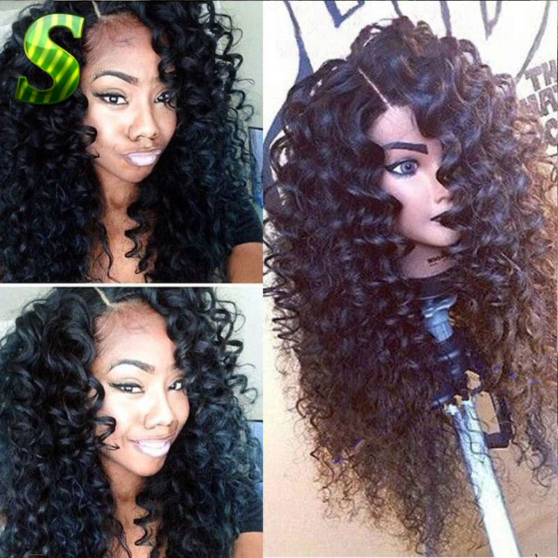 Cheap Deep Curly Lace Frontal Wigs For Black Women Natural Curly Full Lace Wigs Human Hair Curly Wigs Brazilian Curly Lace Wig(China (Mainland))