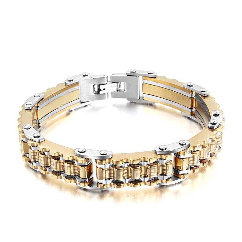 Hot Selling Gold Bracelet Men Snap Button High Quality Mens Jewellery Titanium Steel Gold Filled Men's Bracelets Bangles 2015(China (Mainland))
