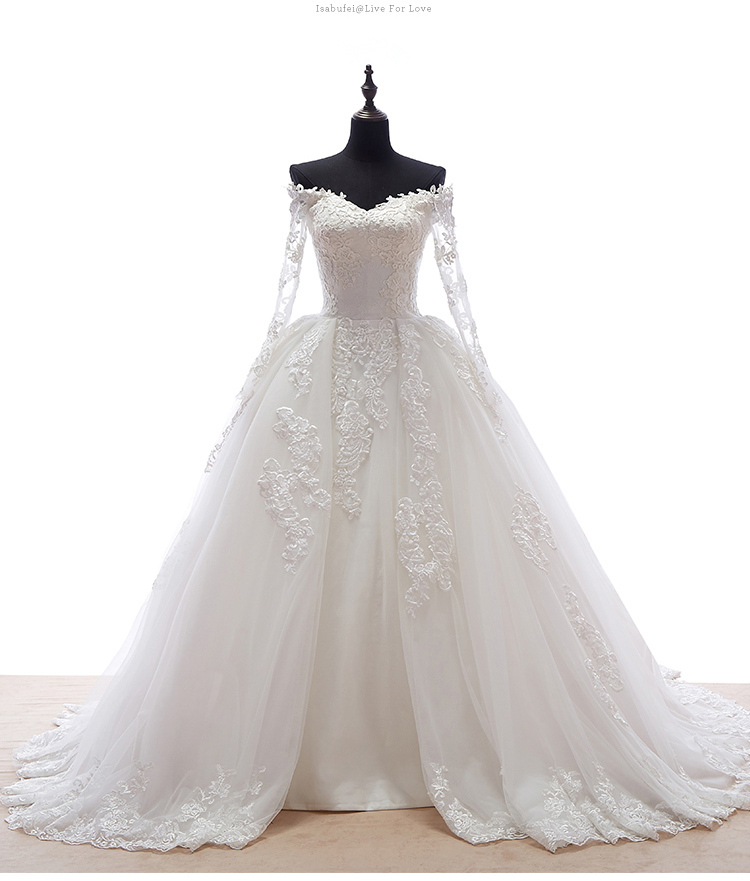 Hot selling sweetheart neck long sleeve lace appliques for Long sleeve ball gown wedding dress