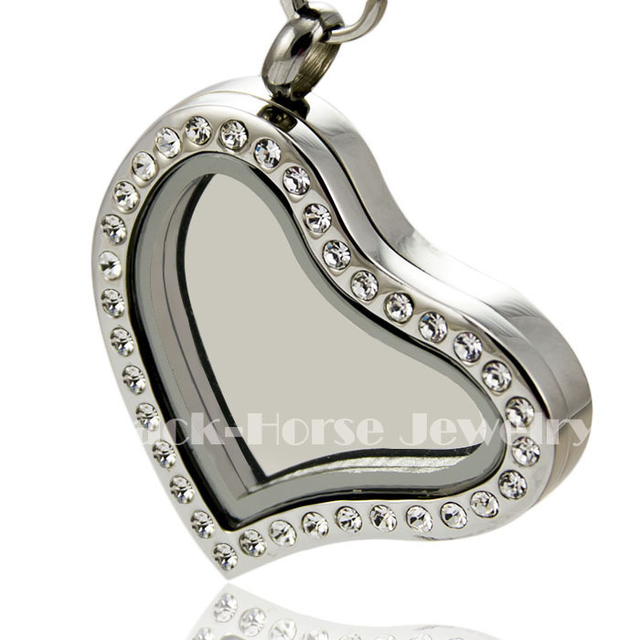 Free shipping high quality Crystal 316L Stainless Steel Hinge opened Floating Charm heart Locket(China (Mainland))