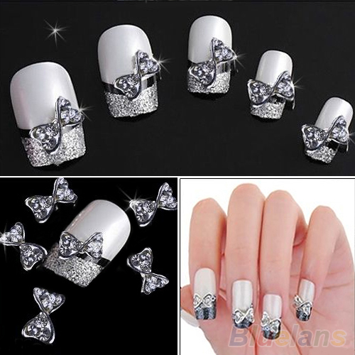 10x 3D Nail Art Silver Alloy Bow Tie Bowtie Rhinestones Glitters DIY Nail Art Decoration 0003 0123(China (Mainland))