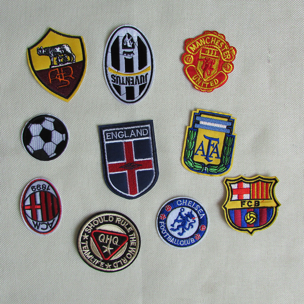 10 kind style select football logo patch hot melt adhesive applique embroidery patch DIY clothing accessory 1pcs sell C212-C395(China (Mainland))