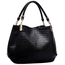 2015High quality PU women handbag. Braided handle, three pockets. Large capacity crocodile handbags 3 colors  free shipping
