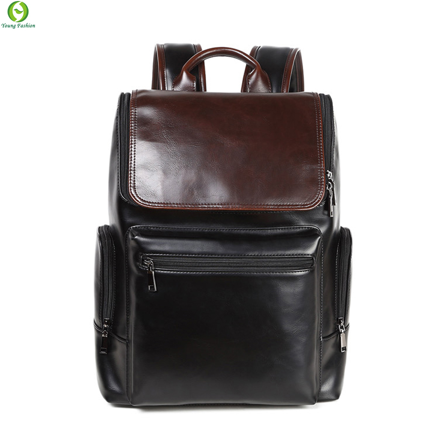 Oily skin mens leather backpacks designers brand backpack bag men outdoor sports tactical laptop backpack men's travel bags(China (Mainland))