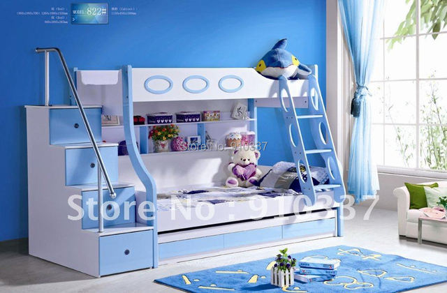 MDF Panels Kids Bed Full Bunk Bed with Stairs and Underbed Storage Drawer Blue Colour