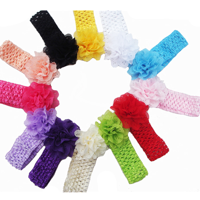 Promotion 5pcs/lot Chiffon Lace Flower Crochet Headband Baby Girls Dress Up Head band 12 colors Kids flowers headbands(China (Mainland))