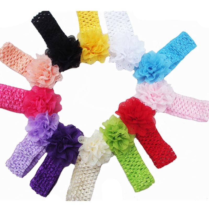 Promotion 5pcs/lot Chiffon Lace Flower Crochet Headband Baby Girls Dress Up Head band 12 colors Kids flowers headbands(China (Mainland))