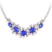 Hot Sales 2016 New Arrived Elegant Hollow Rhinestone Sapphire Emerald Necklace 88N1078 88N1079