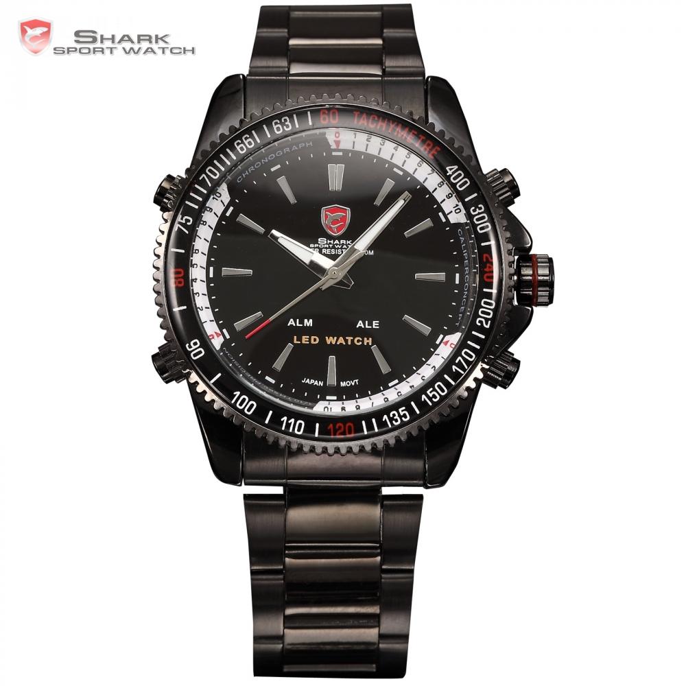 Mako SHARK Sport Watch Analog LED Dual Time Date Alarm Reloj Black Stainless Steel Band Men Military Digital Quartz Watch /SH001(China (Mainland))
