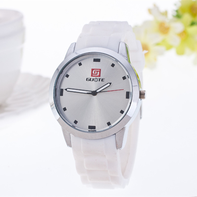 2016 High Quality Fashion Guote Brand Soft Silicone Strap Jelly Quartz Watch Wristwatches for Women Ladies Lovers Black White(China (Mainland))