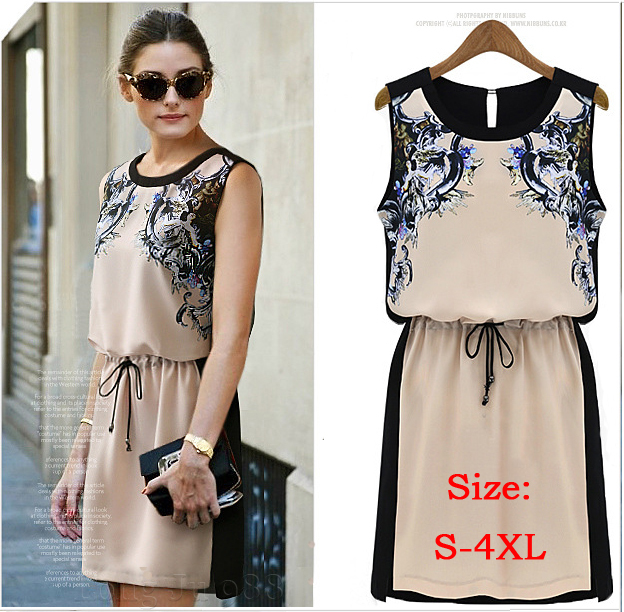 New 2015 Printed Dress Summer Vintage Women's clothing Pinched Waist Chiffon dress Casual Dress Women Sleeveless dress 0553(China (Mainland))