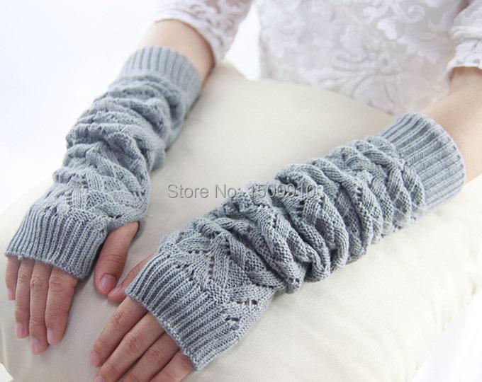 Aliexpress.com : Buy Gray Free Shipping Womens Acrylic Fingerless Gloves Over...