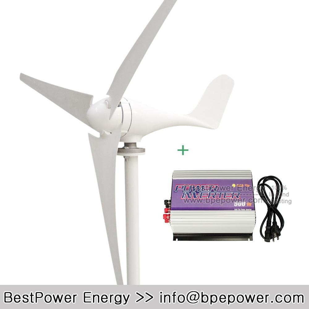 Hot Sale!! Grid Tie Wind Power System, Wind Turbine Kits(500W Grid Tie Wind Inverter + 300W Wind Generator Turbine)(China (Mainland))