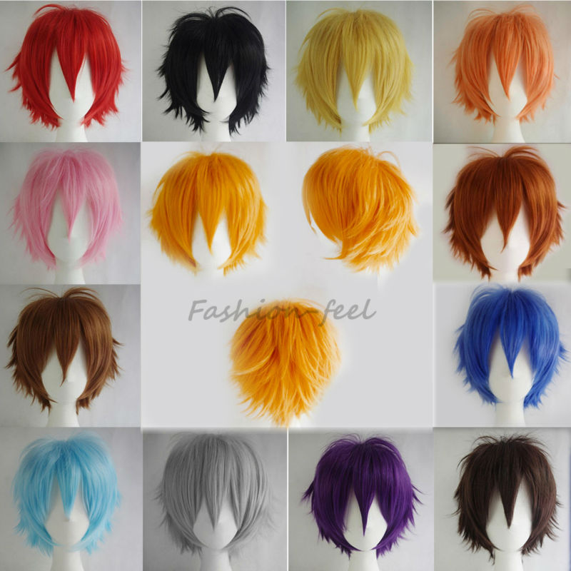 100% Super Anime Fashion Short Wig Blue Brown Blonde Women Men Cosplay Costume Party Full Head Wigs High Quality Hair(China (Mainland))