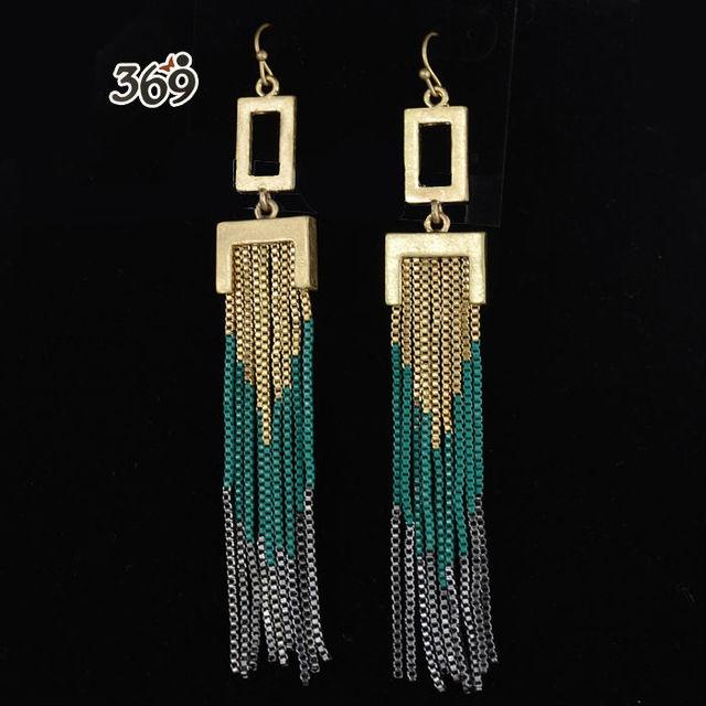 2013 the latest fashion retro long chain tassels women drop earrings party