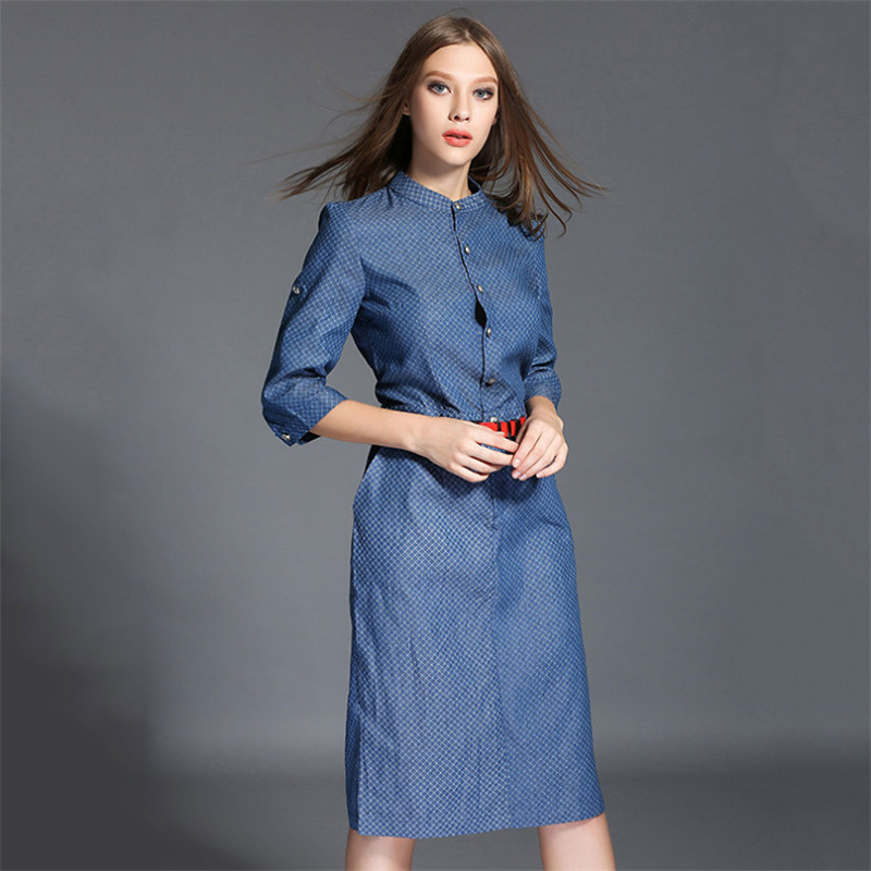 Free Shipping 2015 Autumn Women Three Quarter Sleeve Denim Dress Fashion Plaid One Step Dress ...