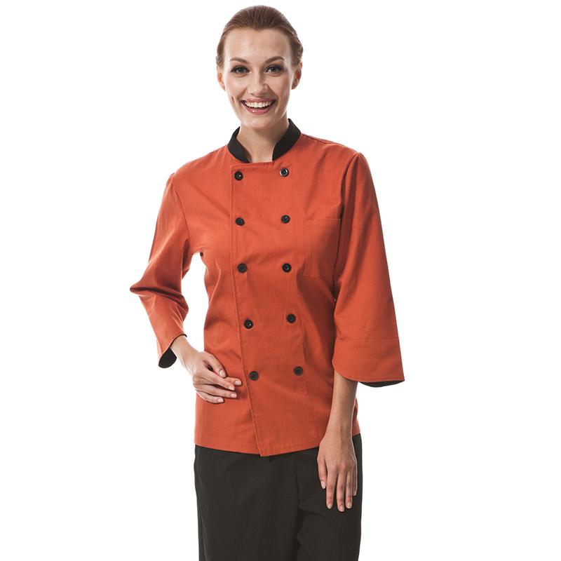 2015 Restaurant Hotel Kitchen Women Female Chef Coats Jackets UniformGrey Brickred Lake Blue Long Sleeve Double-Breasted Buttons(China (Mainland))