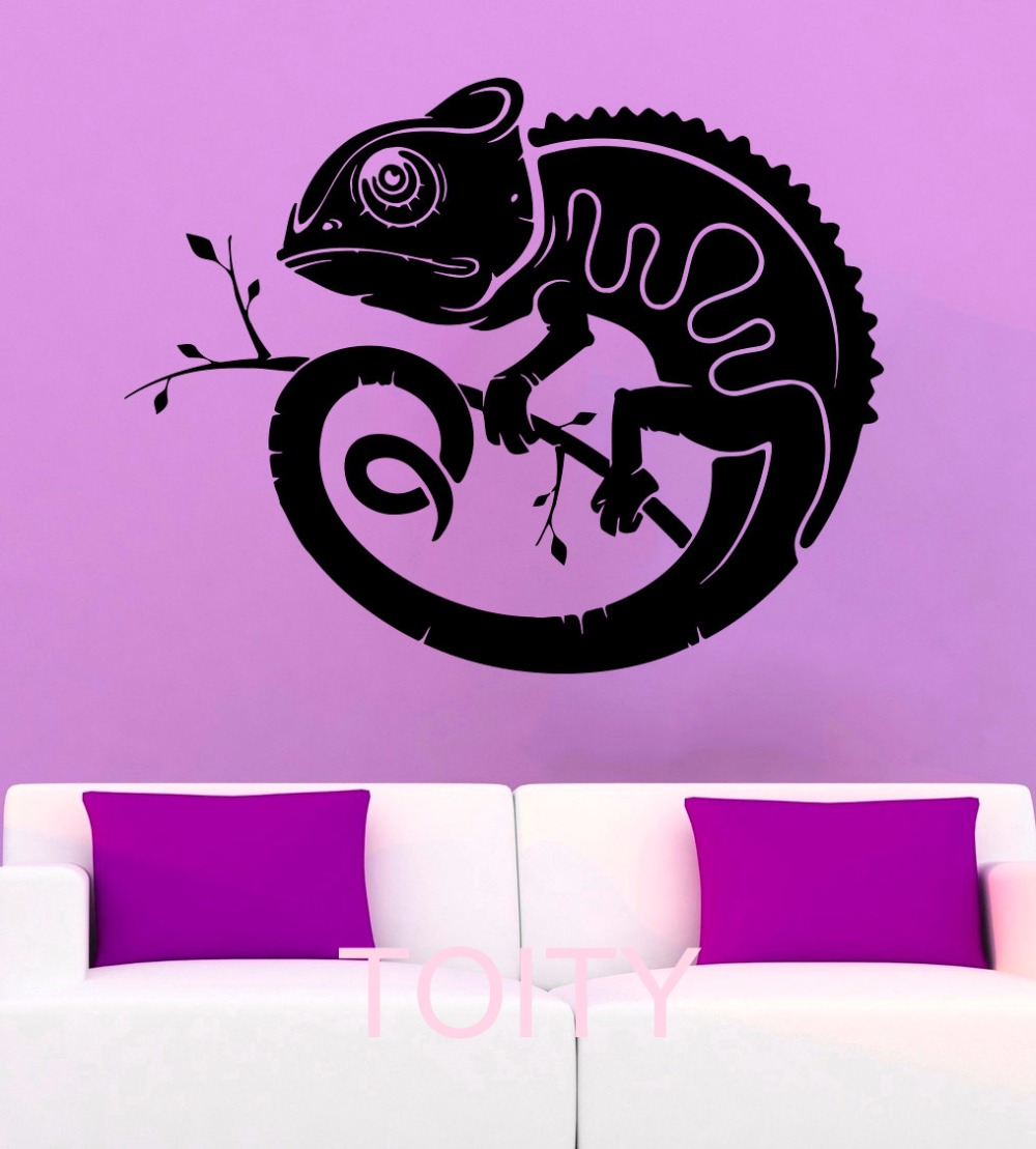 Chameleon Wall Stickers Lizard Vinyl Decals Reptile Animal Silhouette Decor Office Home Living Room Interior Art Murals(China (Mainland))