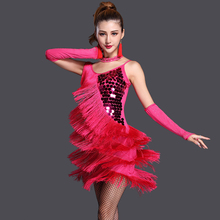 Buy Sexy Ballroom Latin Dance Dress 3pcs/Set (Dress+Neckalce+Gloves) Performance Tassels Samba Salsa Costume Women Dresses S/M/L/XL for $38.36 in AliExpress store