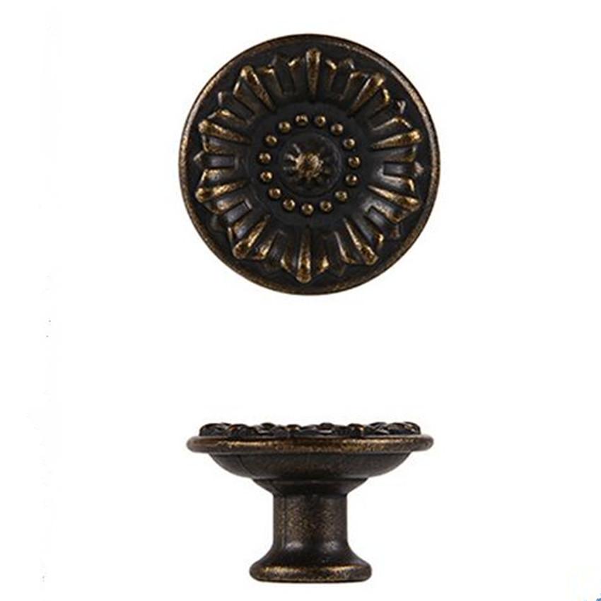 10pcs free shipping rustico vintage furniture knobs bronze drawer cabinet knobs pull antique brass dresser door knob handle 28mm<br><br>Aliexpress