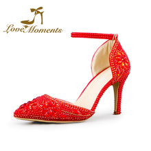 Love Moments red High Heel Pumps Pearls Rhinestone Pointed Toe Crystal Wedding Party & Evening Dress Stiletto Heel(China (Mainland))