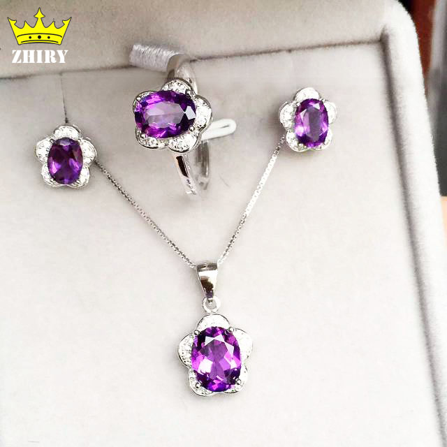 100% natural Amethyst Jewelry set Genuine 925 sterling silver semi Precious stone Fine jewelry sets Birthstone gold plated<br><br>Aliexpress