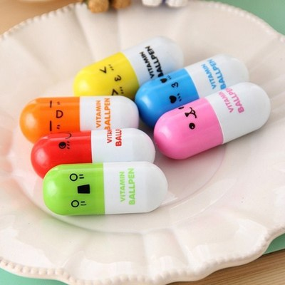 New arrival 50pcs/lot New Lovely Capsule Pill Design Ballpoint Pens Students Gift Pens Random colour(China (Mainland))